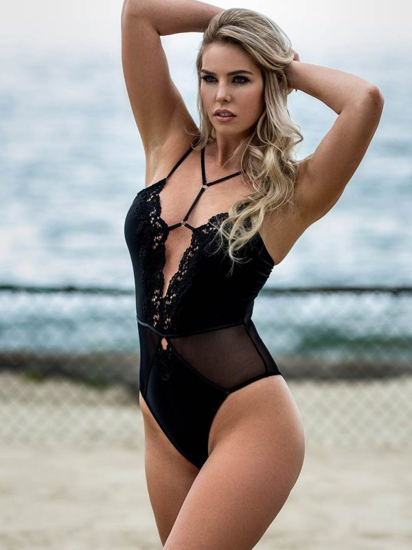 Arousing Mature Black Embroidered Strappy Teddy Lingerie