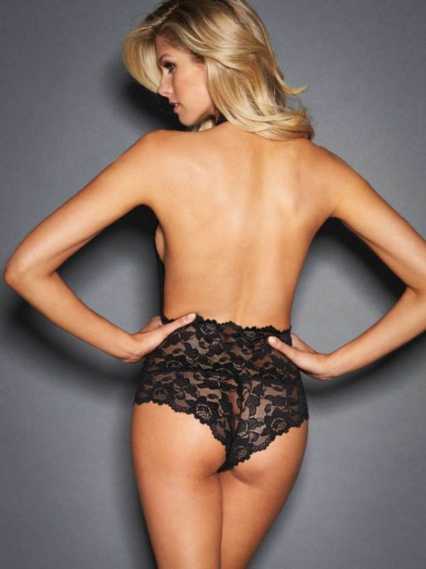 Black Backless Deep V Lace Teddy