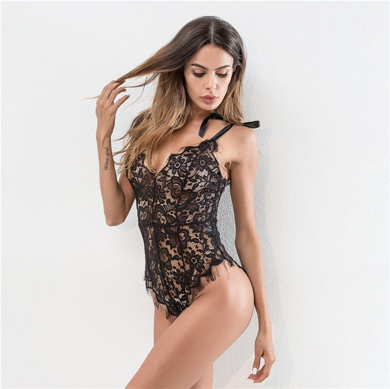 Black Backless Lace Bodysuit with Floral Pattern and Scalloped Trim