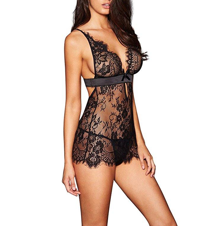 Black Backless Lingerie V-neck Babydoll with Intricate Lace Detailing and Scalloped Trim
