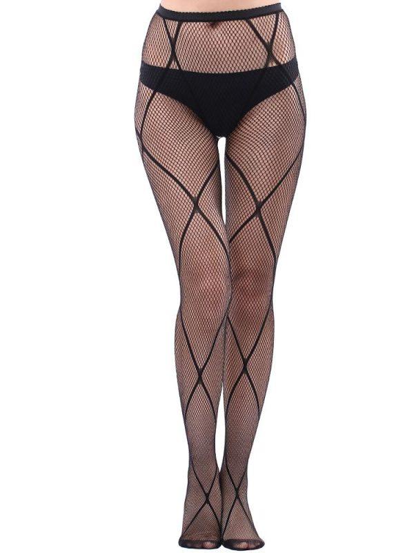 Black Big Cross Fishnet Pantyhose In Sheer Nylon