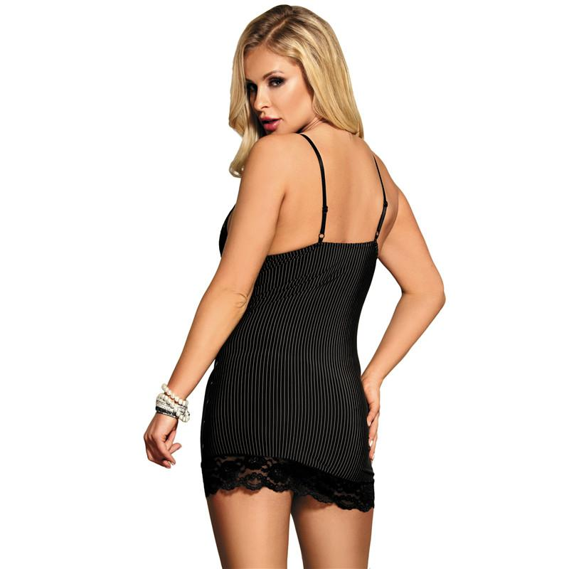 Black Chemise with a Vertical Pinstripe Pattern