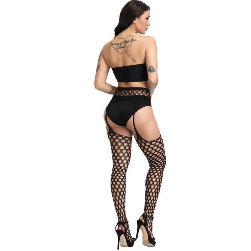 Black Circle Fishnet Pantyhose Set In Sheer Nylon