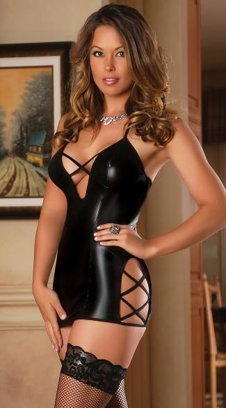 Black Faux Leather Dress with Sexy Corset Style Strapping On The Bust and Thigh