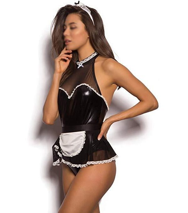 Black Faux Leather Maid Outfit with a White Apron and Matching Choker