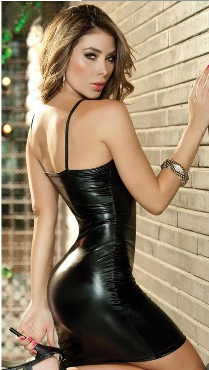 Black Faux Leather Mini Club Dress with Zip Front