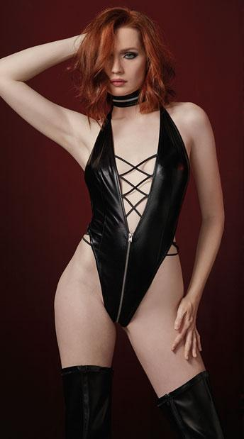 Black Faux Leather Zip-up Teddy with Corset-style Laces