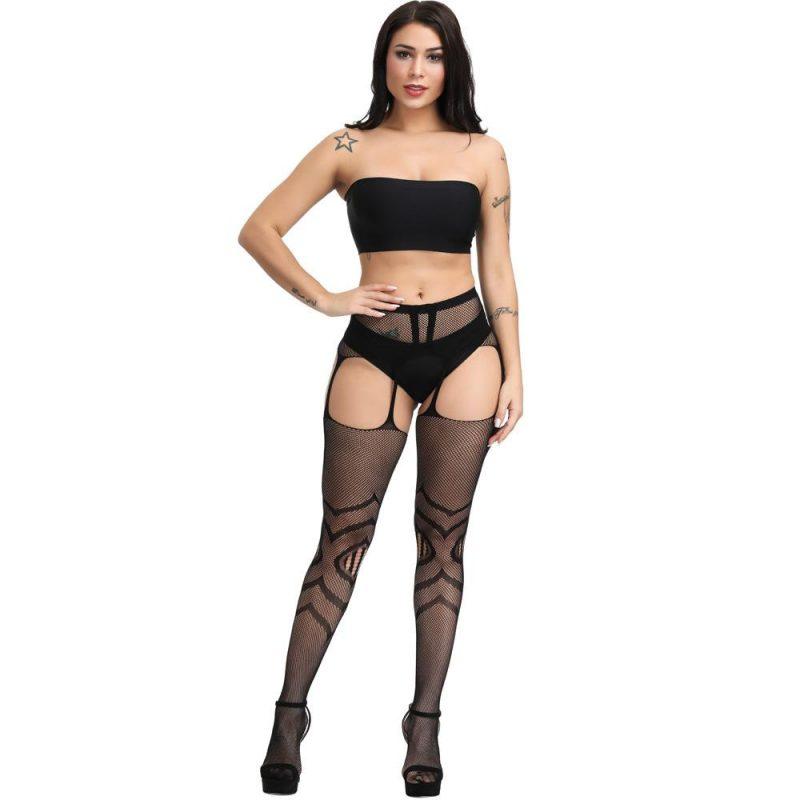 Black Fishnet Cross Pattern Suspender Stockings