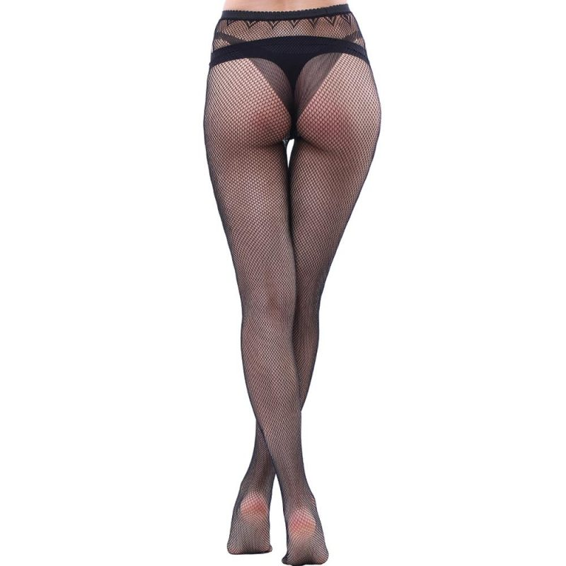 Black Fishnet Pantyhose With A Ladder-Hole Pattern And Ankle Butterfly