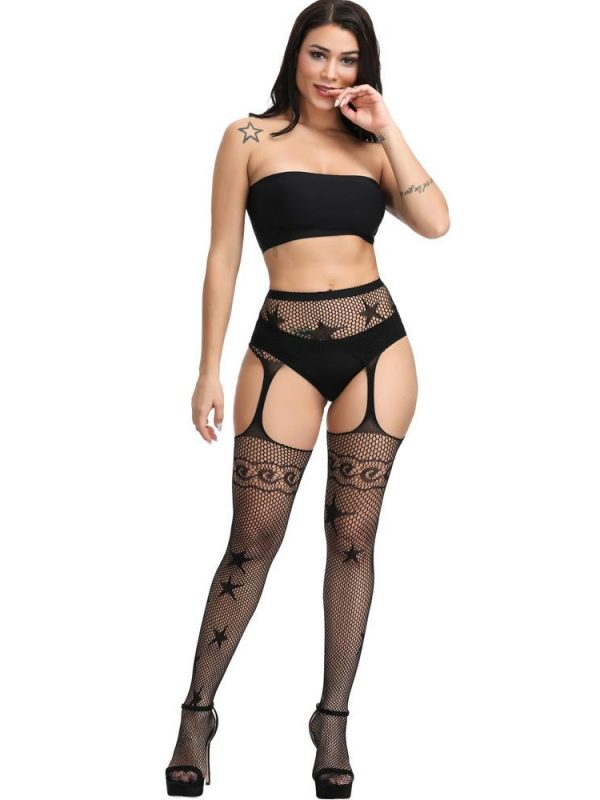 Black Fishnet Suspender Stockings With A Star Motif