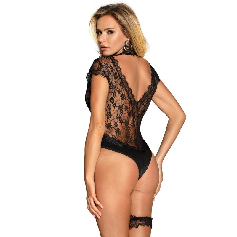 Black Floral Lace Teddy with Eyelash Detail and Choker