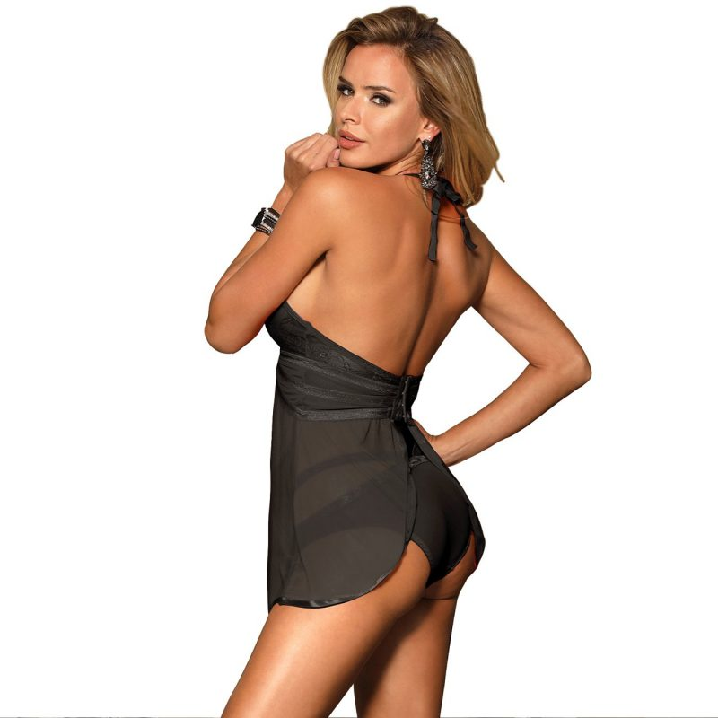 Black Lace Backless Babydoll Dress and Panty Set