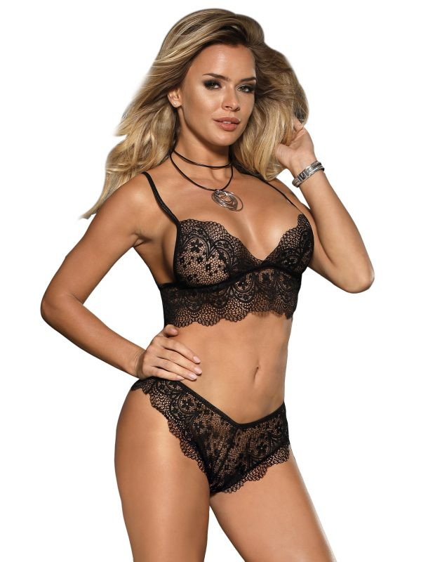 Black Lace Bralette Lingerie Set