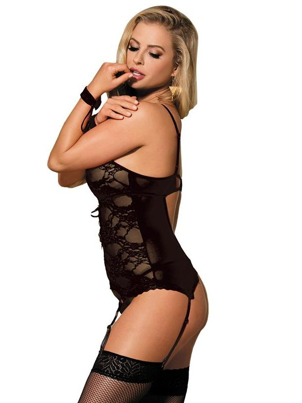Black Lace Corset with Handcuffs and Thong