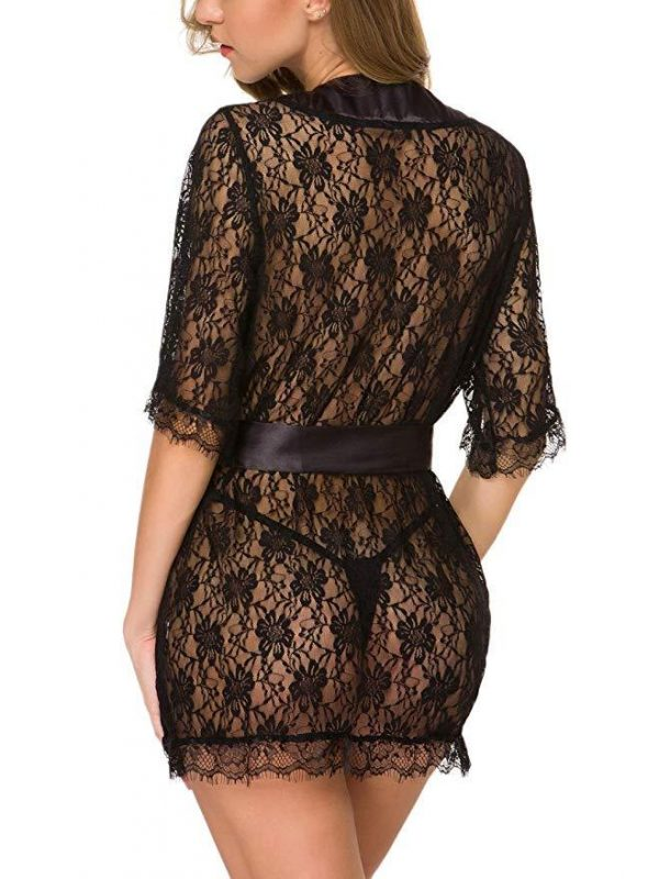 Black Lace Deep-V Sleepwear with Ribbon Detailing