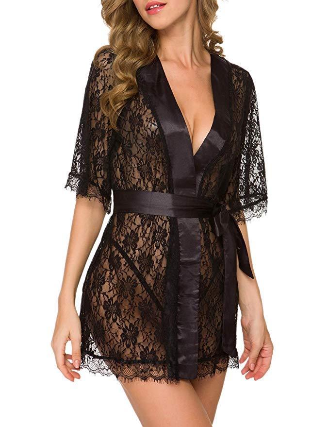 Black Lace Deep-V Sleepwear with Ribbon Detailing