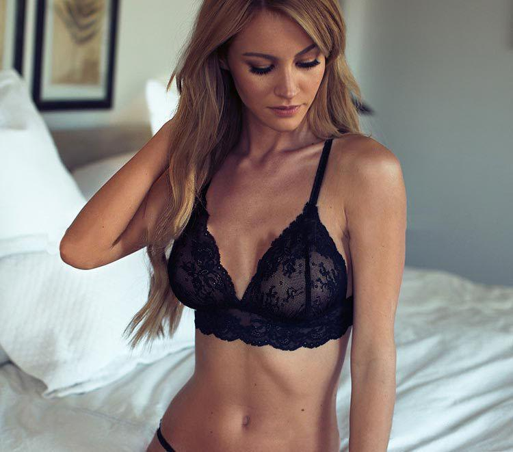 Black Lace Embroidered Bra and Panty Set