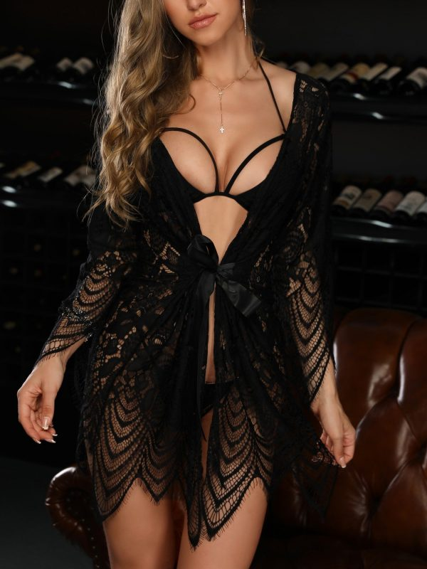 Black Lace Hollow Out Robe and Matching Lingerie Set