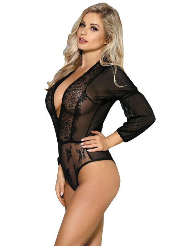 Black Lace Long Sleeve Teddy with Low Cut Front