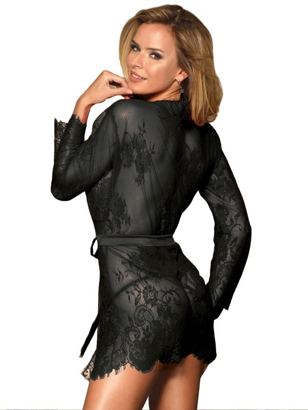 Black Lace Scalloped Edge Sleepwear Gown