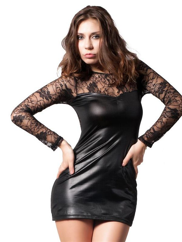 Black Leather Dress with Lace Sleeves