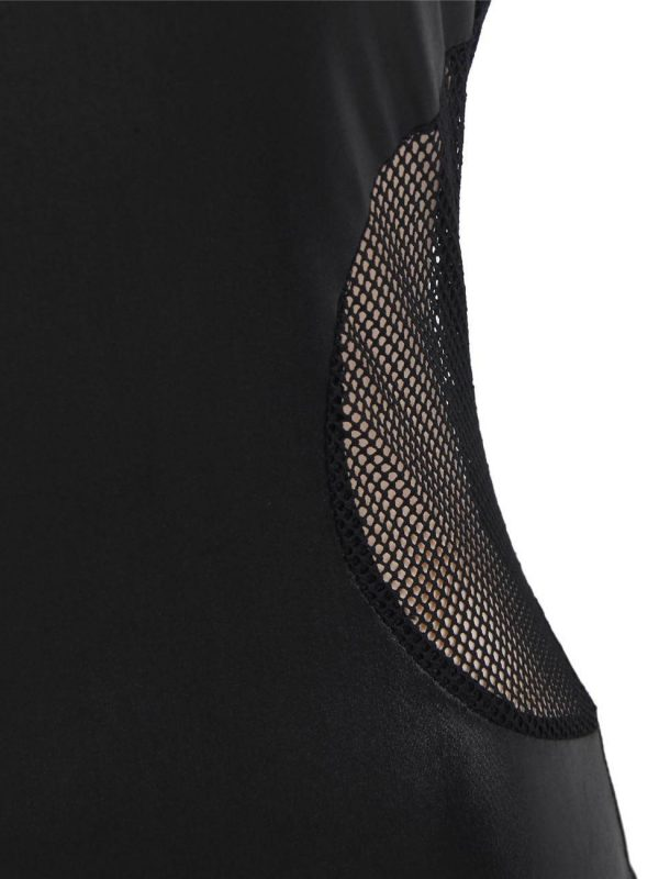 Black Leather Dress with Mesh Side Panels and Collar