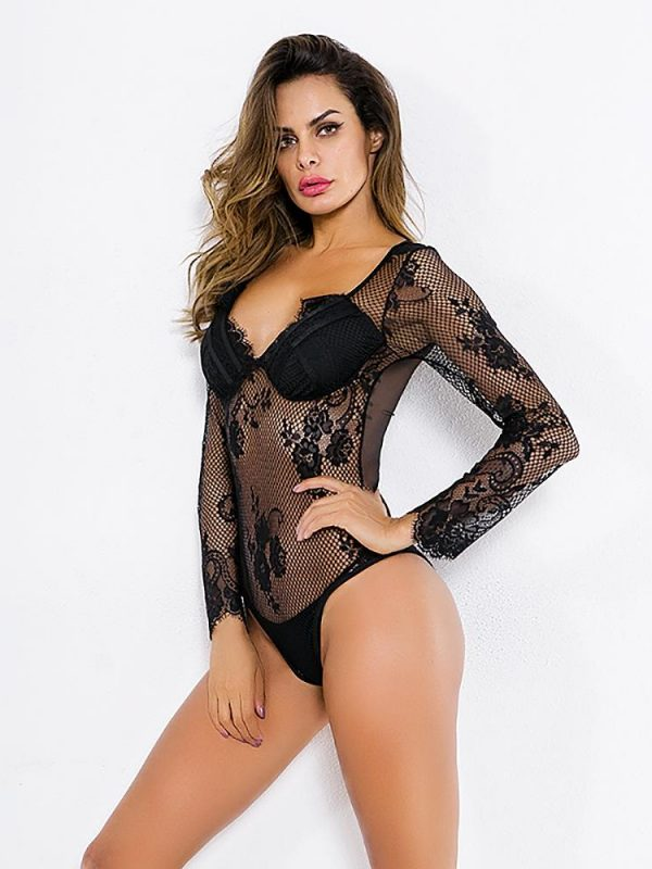 Black Long-sleeve Mesh with a Flower Motif Pyjama Set