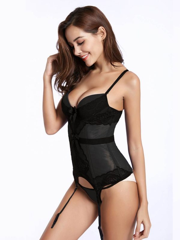Black Mesh Corset with Lace Trim and Panties