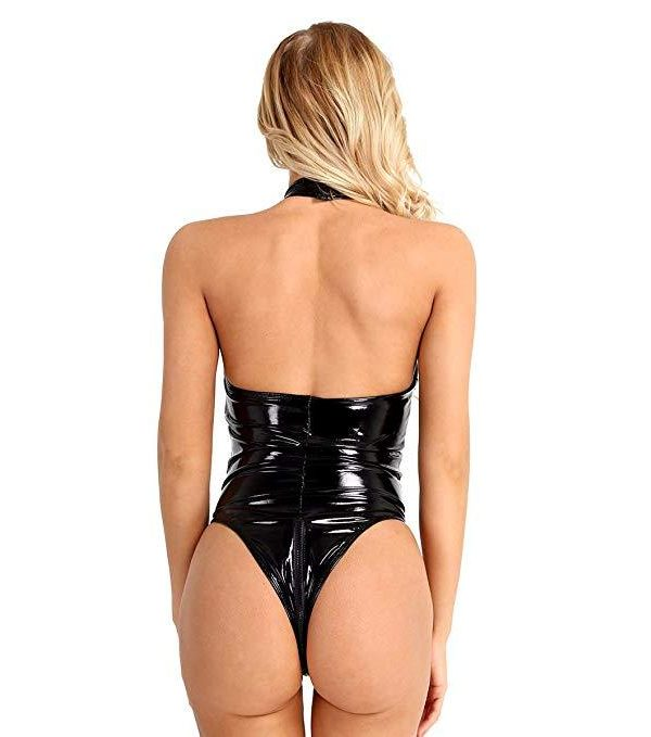 Black One-piece Erotic Bodysuit in PVC and Mesh with Chains