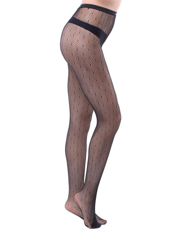 Black Polka Dot Fishnet Pantyhose In Sheer Nylon