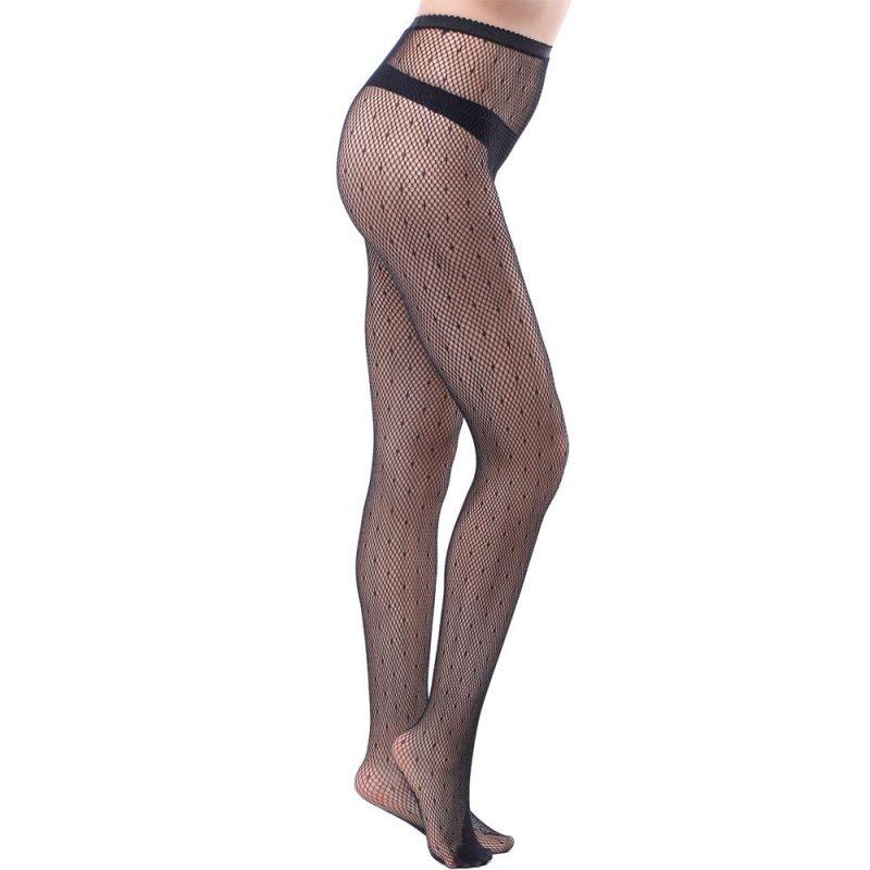 Black Polka Dot Fishnet Pantyhose In Sheer Nylon