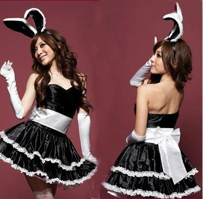 Black Rabbit Costume With Cute Bunny Ears