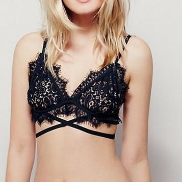 Black Scalloped Lace Bra with Straps