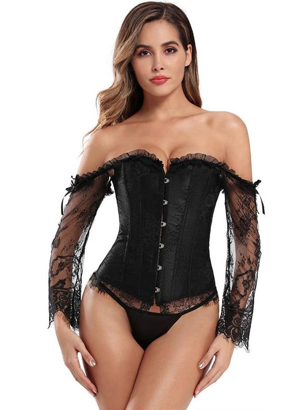 Black Sensual Long-sleeved Floral Embroidered Tight-fitting Corset