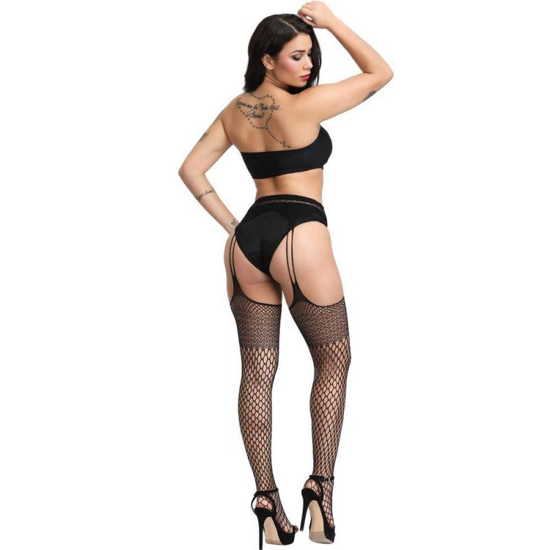 Black Sheer Fishnet One-Piece Suspender Stockings With Mesh Pantyhose