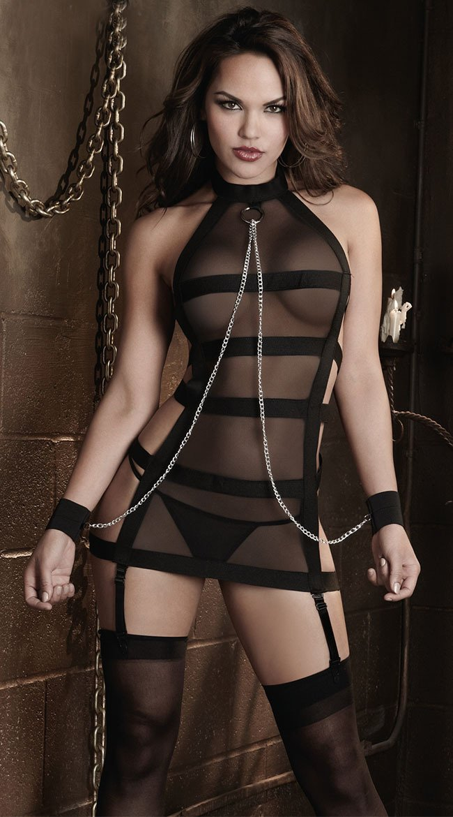 Black Sheer Mesh Babydoll with Elasticated Suspender Straps - Complete with Chainlink Handcuffs