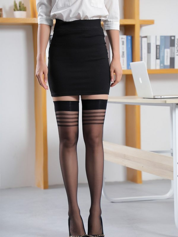 Black Sheer Thigh-High Stockings with Stripe Detailing at Band