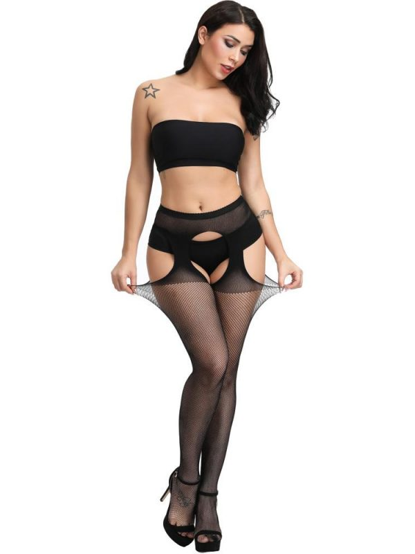 Black Small Fishnet One-Piece Suspender Stockings