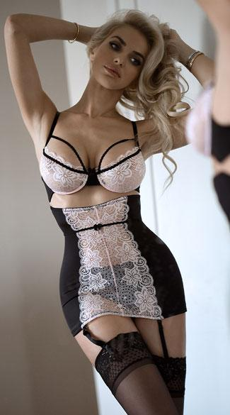 Black Suspender Bodysuit with Lace Panels and Cut-Out Detailing - Black & White
