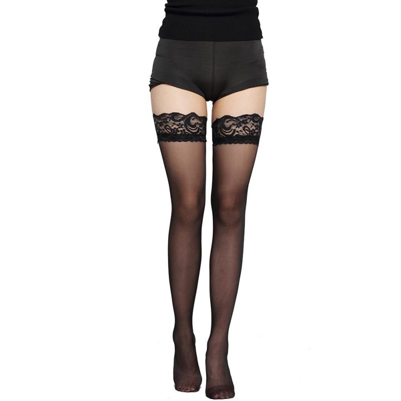 Black Thigh High Lace Top Stockings