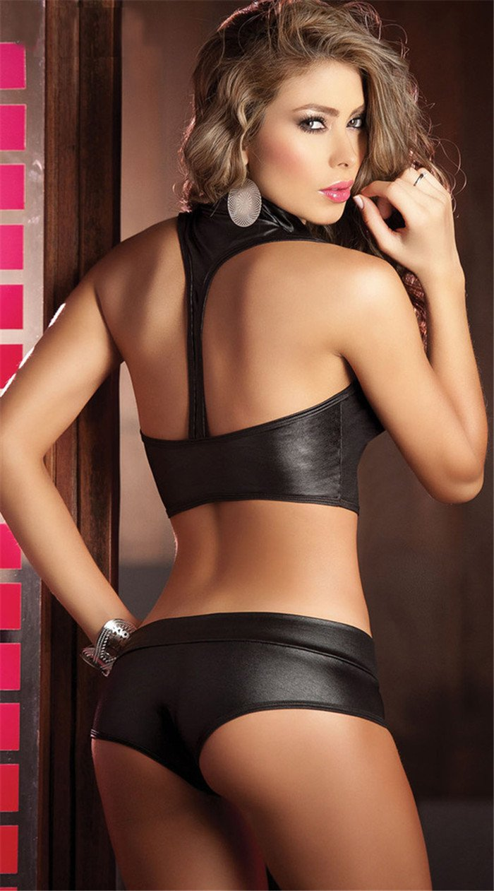 Black Vegan Leather 2-Piece Erotic Set with Halterneck Bralette and Hotpants