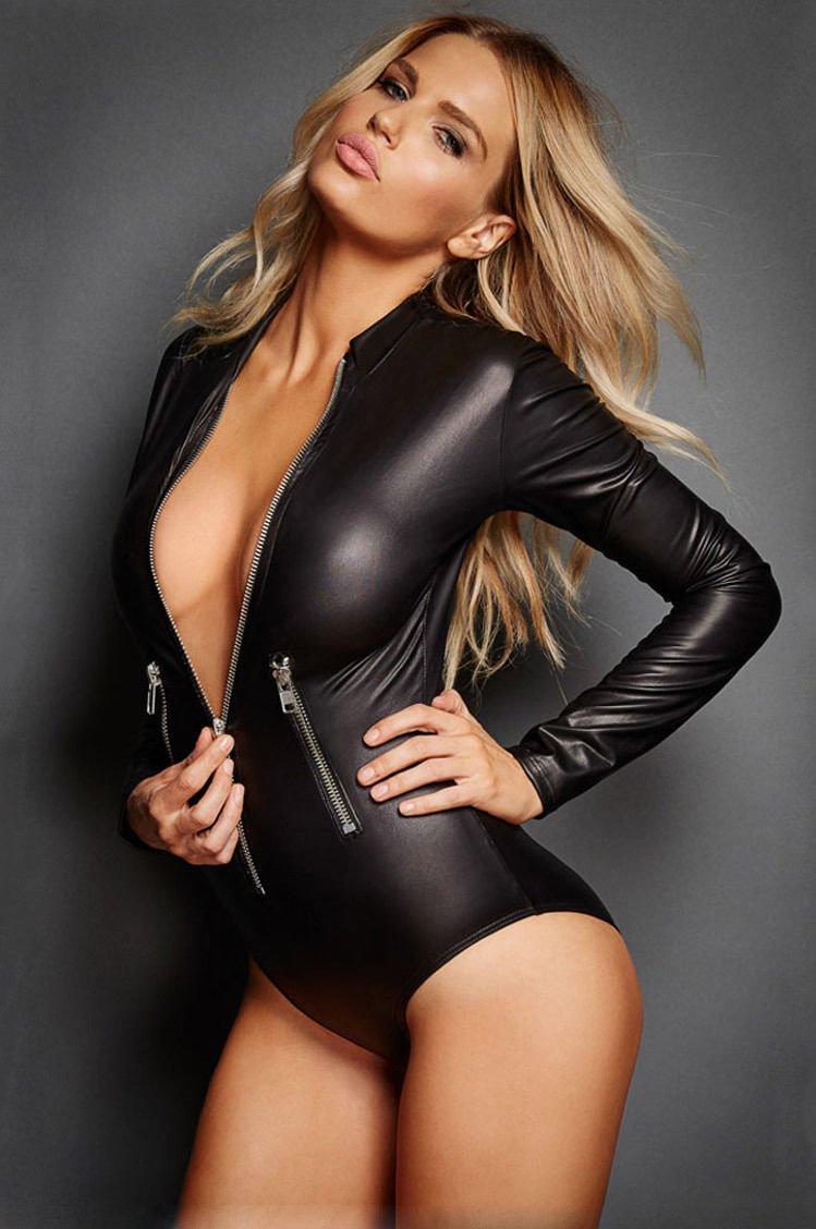 Black Vegan Leather Zip Bodysuit