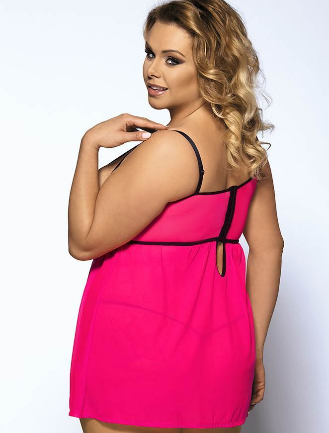 Cute Plus Size Rose Pink Babydoll with Black Lace Detail