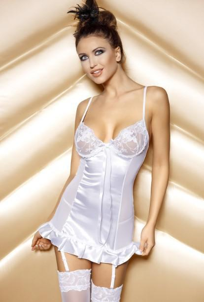 Elegant White Chiffon Babydoll with Sheer Side Panels and Lace Bralette
