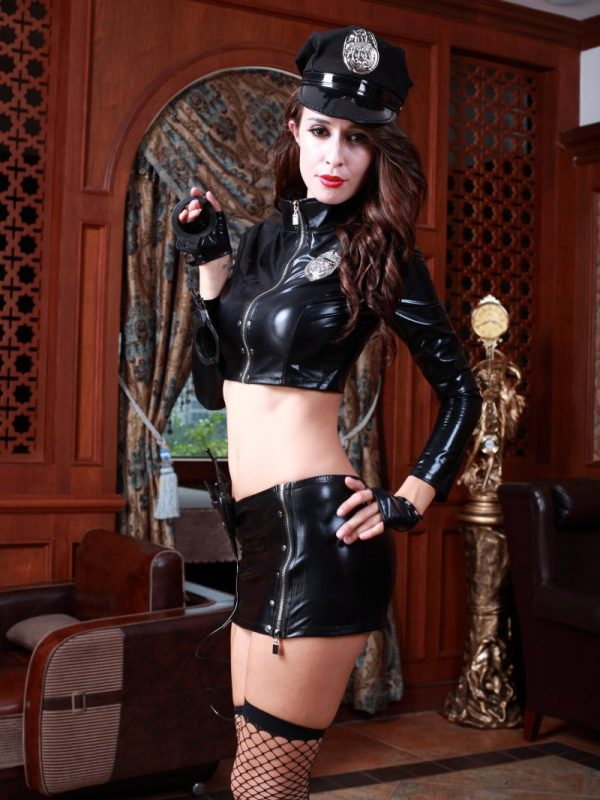 Erotic Police Cosplay Costume in Black PVC with Hat Stockings and Gloves