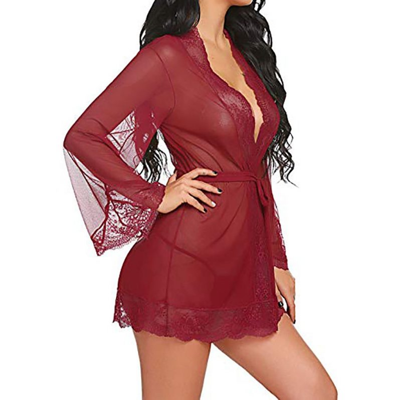 Erotic Red Sexy Robe with Lace Detailing