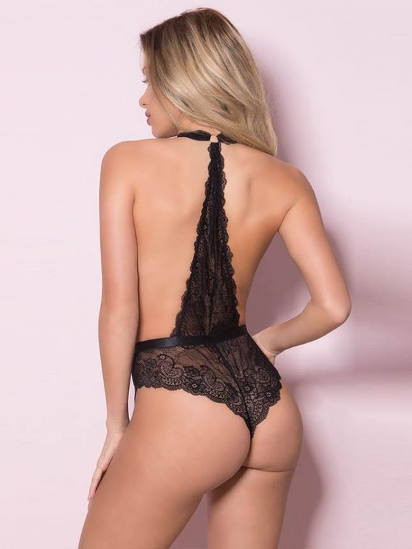 Exquisite Black Lace Teddy Bodysuit with Sexy Halter Neck