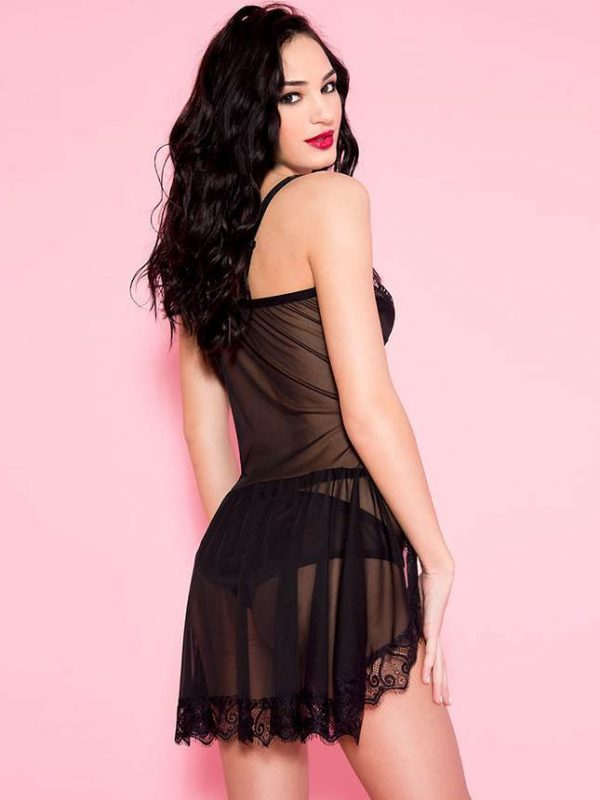 Flirtatious Black Lace Sexy Babydoll Nightwear Lingerie Set