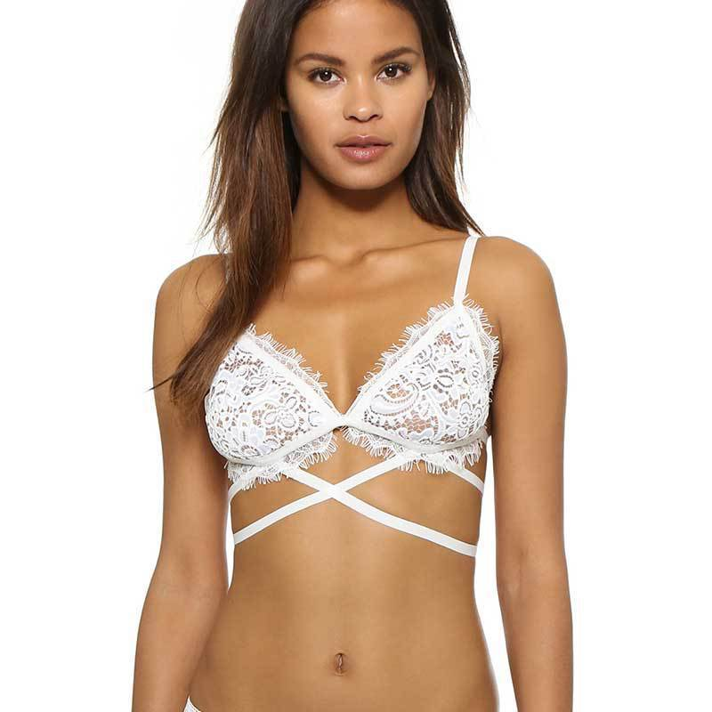 Flirty White Scalloped Lace Bra with Corset-style Strapping