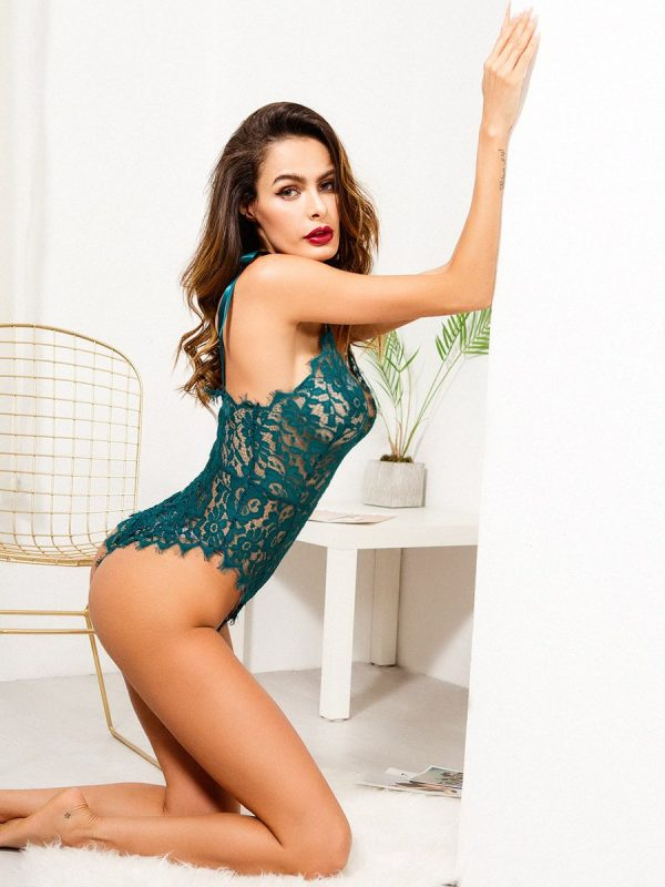 Green Backless Lace Bodysuit with Floral Lace Pattern and Scalloped Trim